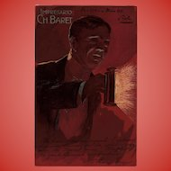 Usher with Candle Lamp Charles Baret Antique Advertising Postcard