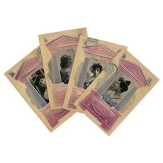 Four Belle Epoque Women in Embossed Greek Temple Frames French Postcards
