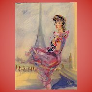 Paris Mode and Monuments Series: Eiffel Tower and 1950s Fashion Vintage Unused French Postcard