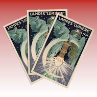 Angelic Art Nouveau Advertisement Brochure for Lampes Lumière of Lyon, France