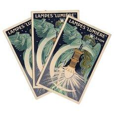 Angelic Art Nouveau Advertisement Brochure for Lampes Lumière of Lyon, France