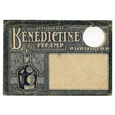Illustrated Bénédictine Liqueur Distillery: Historical Philatelic Envelope with Circular Hole