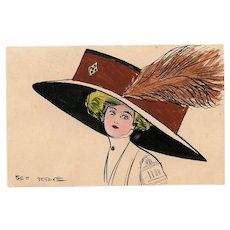 Edwardian Lady in Huge Brown Hat with Feather Original Handpainted Artist Signed French Postcard Georges Desains