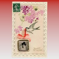 3-D Embossed Collage with Ribbon, Photo and Calendar Booklet 1908 French Postcard