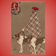 Plaid Woman with Foxhounds Distinctive Hélène Máté Style 1908 French Postcard
