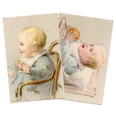 Pastel Baby Portraits Two Unused Vintage French Postcards