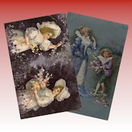 Metallic Embossed and Gold Overlays: Two Antique European Postcards