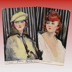 Redhead and Sunshine: Two Glamour Ladies Barribal Collection Unused European Postcards