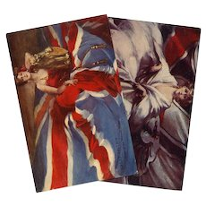 Great Britain and Germany Flags of the Nations Series by Barribal Unused Postcards