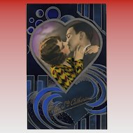 Art Deco Lovers in Heart of Cobalt, Midnight Blue and Silver Geometric Design French Postcard