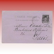 Candès Skin Cream Order Postcard with Beautiful Script Mailed 1889 to Paris
