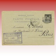 Monternier Perfume Candès Skin Cream Postcard with Beautiful Script 1894 Paris