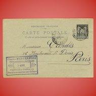 Monternier Perfume Candès Skin Cream Postcard with Beautiful Script 1894 Paris