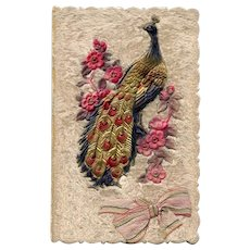 Peacock and Flowers with Ribbon on Fabric Background Antique Greeting Card - Red Tag Sale Item