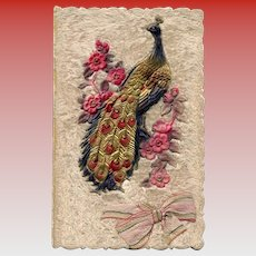 Peacock and Flowers with Ribbon on Fabric Background Antique Greeting Card