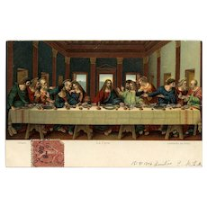 Da Vinci's Last Supper Lithographic Art Reproduction by Stengel 1906 Paris