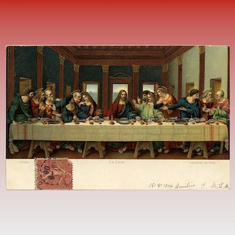 Da Vinci's Last Supper Lithographic Art Reproduction by Stengel 1906 Paris