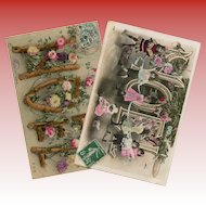 Christmas Montage Two French Noel Postcards c1906