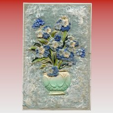 Blue Forget Me Nots in Turquoise Vase Novelty Postcard with Faux Fur and Felt