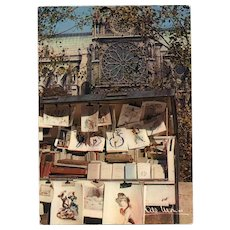Albert Monier Photography Postcard of Bouquinistes near Notre Dame Paris 1950s