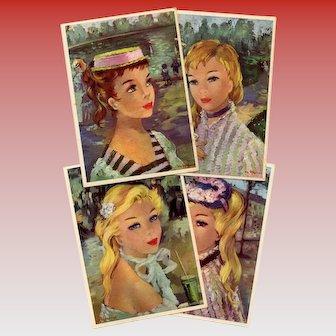 Smiling Faces of Paris Four Artist Signed Unused Postcards circa 1950s