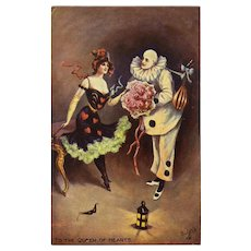 Queen of Hearts with Pierrot Tuck's Carnival Postcard Unused