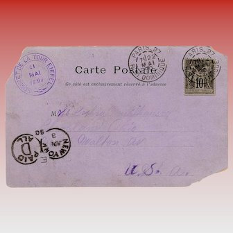 1890 Summit of the Eiffel Tower Stamped Postcard Mailed to United States