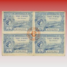 Four Block set of Tickets to Paris 1900 Exposition
