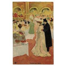 Restaurant Opéra Belle Epoque Mystery Artist Monogram Unused Antique Postcard