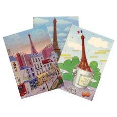 Three Unused Vintage Eiffel Tower Postcards in Primitive Naïve Style