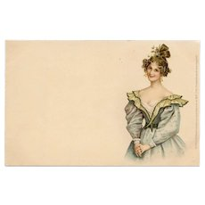 "Near Mint Condition Theo Stroefer Edwardian Chromolithograph ""Postkarte"" Unused"