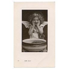Angel Washing Her Face Antique European Postcard Real Photo