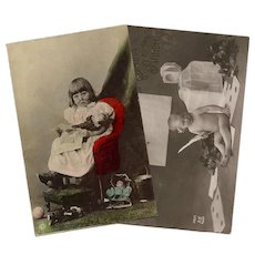 Toddlers, Dolls and Cuteness: Two Antique Real Photo European Postcards