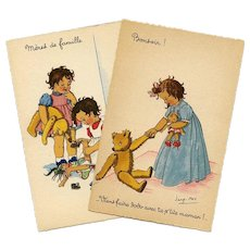 Teddy Bears and Toys: Two Unused Vintage French Postcards