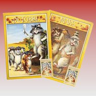 Boulanger Cat Postcards: Two Vintage Reproductions from Month Series