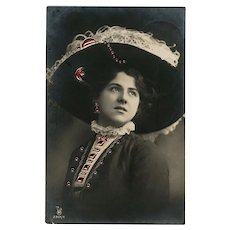 Bejewelled Rhotophot Real Photo Novelty Postcard Edwardian Lady in Huge Hat 1909