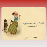 1889 Calling Card Gypsy Girl with Dancing Dog
