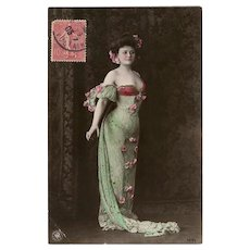 Elegant Lady in Gown of Roses in Pink and Green 1905 European Postcard