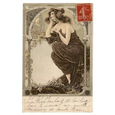 Neoclassical Beauty Day Dreaming Art Nouveau German French Postcard with Gold Detailing