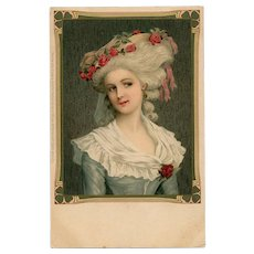 Rococo Beauty with Roses in her Hair Unused Pre-1904 Meissner & Buch Postcard