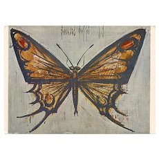 Butterfly by French Expressionist Bernard Buffet 1962 Unused French Postcard