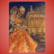Fashion at the Opera: Paris Mode and Monuments 1950s Unused French Postcard
