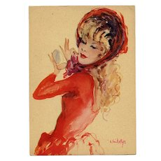 """1950s French Fashion Beauty in Red """"Parisienne"""" Series by Vincente Cristellys"""