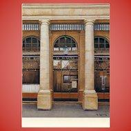 Palais Royal Cafe Le Nemours Vintage Postcard by French Painter André Renoux Artist Signed