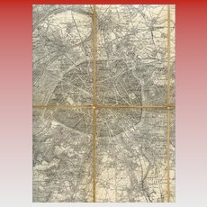 Linen Canvas Backed Antique Map of Paris and Vicinity c. 1909