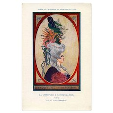 Marie Antoinette with her Pro-Vaccination Hairstyle French Advertising Postcard