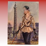Haute Couture 1950s Paris Mode and Monuments Vendôme Column Unused French Art Print