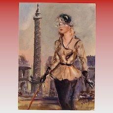 Haute Couture 1950s Paris Mode and Monuments Vendôme Column Unused French Art Print