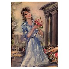 Flowers and Fashion: 1950s Paris Mode and Monuments Unused French Art Print
