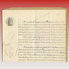 Legal Documents 1879 Paris French Calligraphy Notarized Papers for Bricklayer Mason Monsieur Lepicier